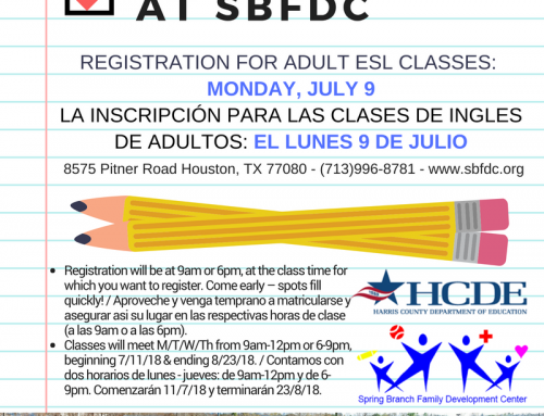 Register for Adult ESL Classes: Monday, July 9