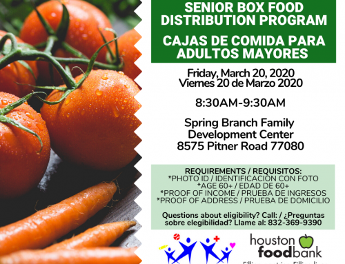 Senior Box Food Distribution: Friday, March 20