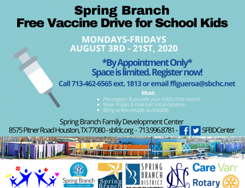 Spring Branch Vaccine Drive for School Kids on Weekdays this August 3-21